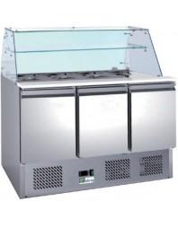 Saladette réfrigérée - 3 portes - Ext/Int inox- structure vitrée - AFI