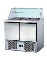 Saladette réfrigérée - 2 portes - Ext/Int inox- structure vitrée - AFI