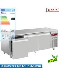 Soubassement réfrigéré - 3 tiroirs GN 1/1-h 200 mm