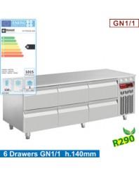 Soubassement réfrigéré - 6 tiroirs GN 1/1-h 200 mm