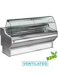 Comptoir vitrine réfrigérée à vitre bombée - froid ventilé +0°/+2°C - DIAMOND