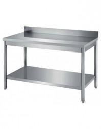 Table de travail adossée avec étagère gastro Largeur 1500 - Profondeur 700