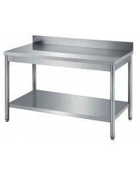 Table de travail adossée avec étagère gastro profondeur 800 - Plusieurs dimensions