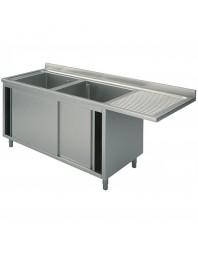 Plonge inox 2 bacs spéciale lave-vaisselle passage à droite- sur placard - Plusieurs Largeurs - P 600 mm - H 850 mm