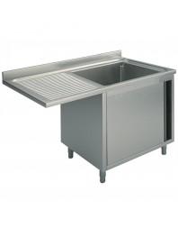 Plonge inox 1 bac spéciale lave-vaisselle passage à gauche- sur armoire - Plusieurs Largeurs - P 600 mm - H 850 mm