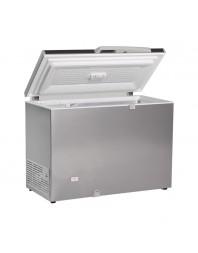 Congélateur coffre avec couvercle plein battant aspect inox - 400 litres