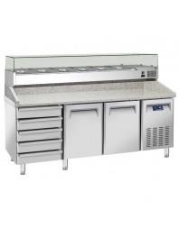 Table à Pizzas Tropicalisée 2 portes avec vitrine à ingrédients 9 bacs GN 1/3 - 5 tiroirs neutre