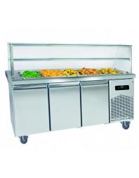 Salad'Bar bain-marie chauffant sur placard neutre avec pare-haleine - 2 portes - 4 x GN 1/1