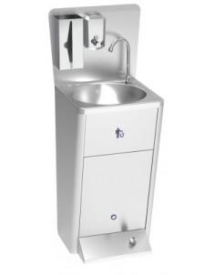 Lave-mains avec commande à pédale et corbeille à papier - En stock