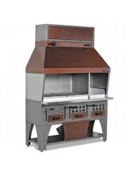 Barbecue à charbon de bois avec auvent sur armoire avec tiroirs à charbon - L 1600 mm
