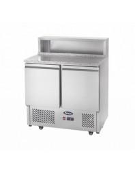 Table réfrigérée à pizzas - 2 portes - Capacité 4xGN1/3 + 1xGN1/9