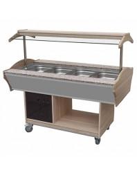 Salad'Bar réfrigéré 4 bacs GN 1/1 - central/mobile - Couleur Noyer
