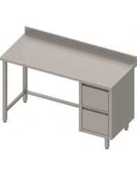 Table Inox adossée avec 2 tiroirs à droite - Gamme 800