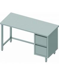 Table Inox centrale avec 2 tiroirs à droite - Gamme 800