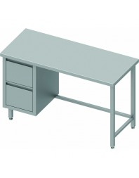 Table Inox centrale avec 2 tiroirs à gauche - Gamme 600