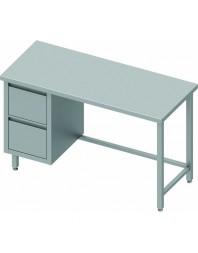 Table Inox centrale avec 2 tiroirs à gauche - Gamme 800