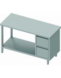 Table Inox centrale avec 2 tiroirs à droite et étagère intermédiaire - Gamme 600