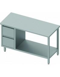 Table Inox centrale avec 2 tiroirs à gauche et étagère intermédiaire - Gamme 600