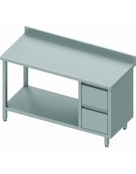 Table Inox adossée avec 2 tiroirs à droite et étagère intermédiaire - Gamme 600