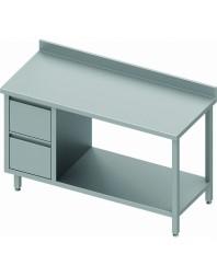 Table Inox adossée avec 2 tiroirs à gauche et étagère intermédiaire - Gamme 600