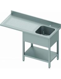 Plonge avec passage lave-vaisselle 1 bac et égouttoir à gauche - de 1200 à 1900 mm - Prof 800 mm
