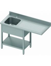 Plonge avec passage lave-vaisselle 1 bac et égouttoir à droite - de 1200 à 1900 mm - Prof 800 mm