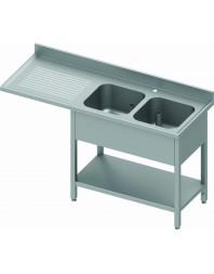 Plonge avec passage lave-vaisselle 2 bacs et égouttoir à gauche - de 1600 à 2400 mm - Prof 800 mm