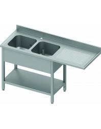 Plonge avec passage lave-vaisselle 2 bacs et égouttoir à droite - de 1600 à 2400 mm - Prof 800 mm