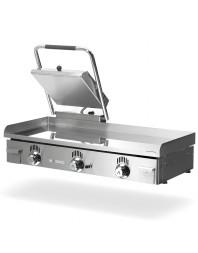 Plancha Professionnelle à gaz avec presse à sandwichs - Plusieurs choix de dimensions : 40/60/80/100 cm