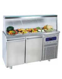 Salad'Bar réfrigérée positive avec pare-haleine sans étagère - 2 portes - 4 x GN 1/1
