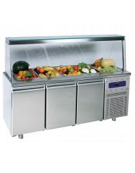 Salad'Bar réfrigérée positive avec pare-haleine sans étagère - 3 portes - 5 x GN 1/1