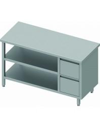 Table de travail centrale inox sans dosseret avec 2 tiroirs à droite - L 1400 Prof 800