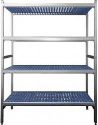 Gamme rayonnage aluminium - Large choix de dimensions - Prof 465 mm - 4 niveaux