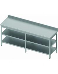 Table de travail adossée avec 2 étagères intermédiaires - Prof 600 mm - dimensions de 2000 à 2800 mm