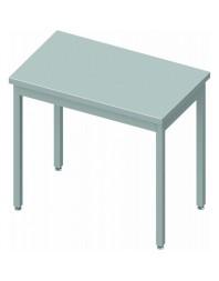 Table inox centrale sans étagère - Prof 600 - Dimensions de 400 à 1400 mm