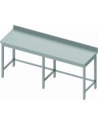 Table inox professionnelle adossée sans étagère - Prof 600 - Dimensions de 2000 à 2800 mm