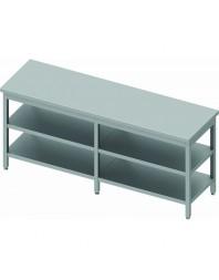 Table de travail centrale avec 2 étagères intermédiaires - Prof 600 mm - dimensions de 2000 à 2800 mm