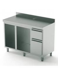 Comptoir arrière pour machine café 1500 mm avec élément pour lave-vaisselle et producteur glaçons