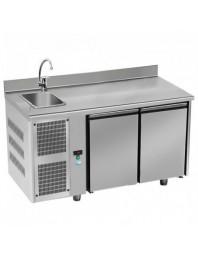 Table réfrigérée avec évier à gauche - 2 portes - GN 1/1