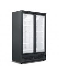 Armoire réfrigérée black positive 0/+10°C - 2 portes vitrées battantes - 1000 litres