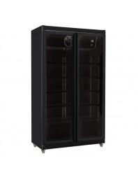 Armoire réfrigérée black positive +1/+10°C - 2 portes vitrées battantes - 785 litres