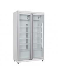 Armoire réfrigérée blanche positive +1/+10°C - 2 portes vitrées battantes - 785 litres