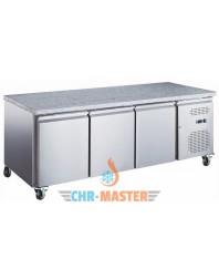 Table réfrigérée positive 3 portes sur roulettes - 600 x 400 - Plan de travail granit - ISOTECH