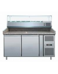 Meuble préparation pizzas 2 portes 600x400 mm +2/+8°c granit avec saladette a ingredients