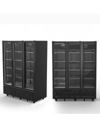 Vitrine réfrigéré verticale 1491 litres avec 3 portes en verre, +1°/+10°C - Couleur noire