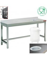 Table inox avec trou vide ordure pour poubelle en dessous