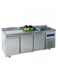 Table réfrigérée 700 mm avec 3 portes, évier 35x40x20h cm à droite et dosseret, -2°/+8°C