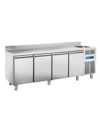 Comptoir réfrigéré adossé avec évier à droite - 4 portes