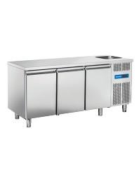 Comptoir réfrigéré central avec évier à droite - 3 portes