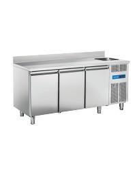 Comptoir réfrigéré adossé avec évier à droite - 3 portes